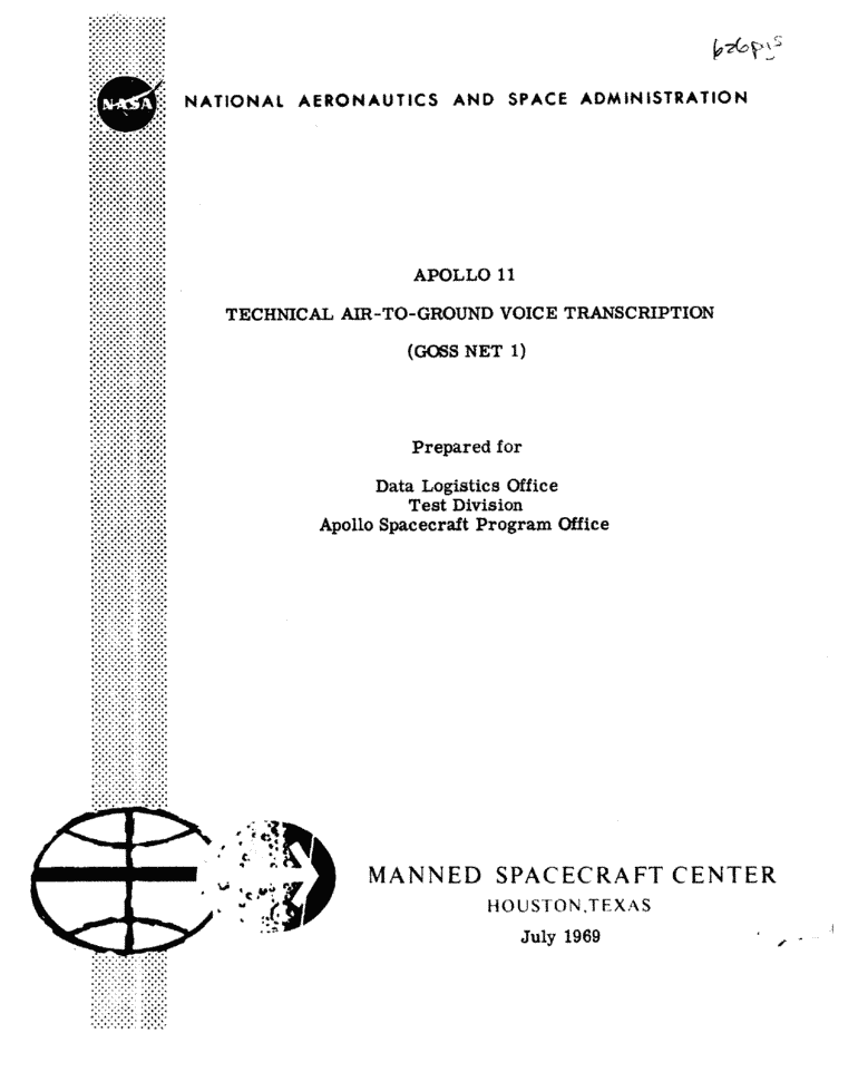 Page 1 of Apollo 11's original transcript