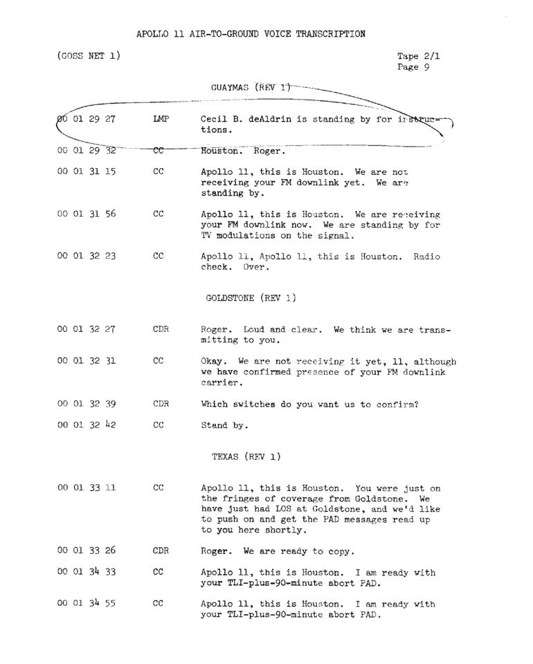 Page 11 of Apollo 11's original transcript
