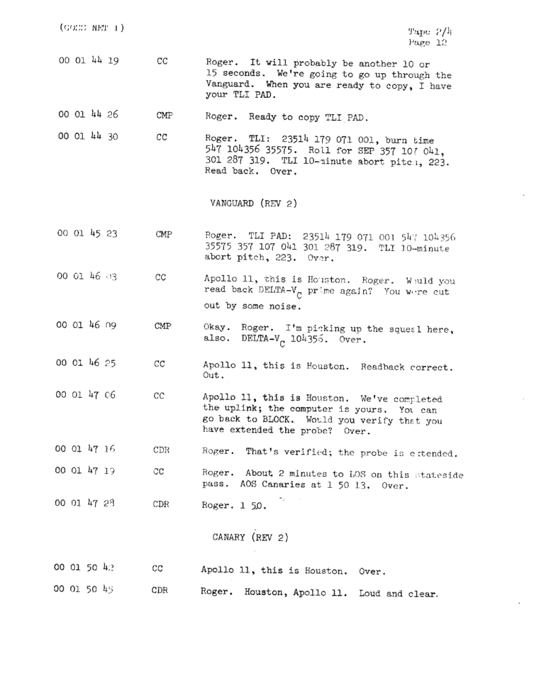 Page 14 of Apollo 11's original transcript