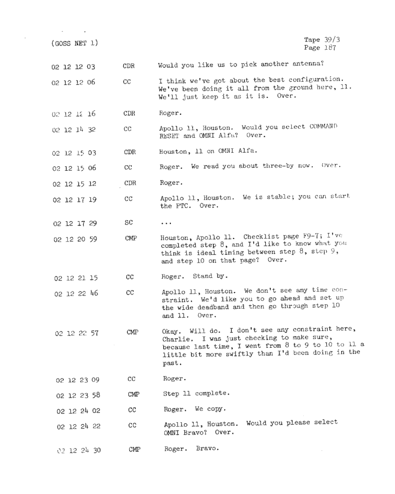 Page 189 of Apollo 11's original transcript