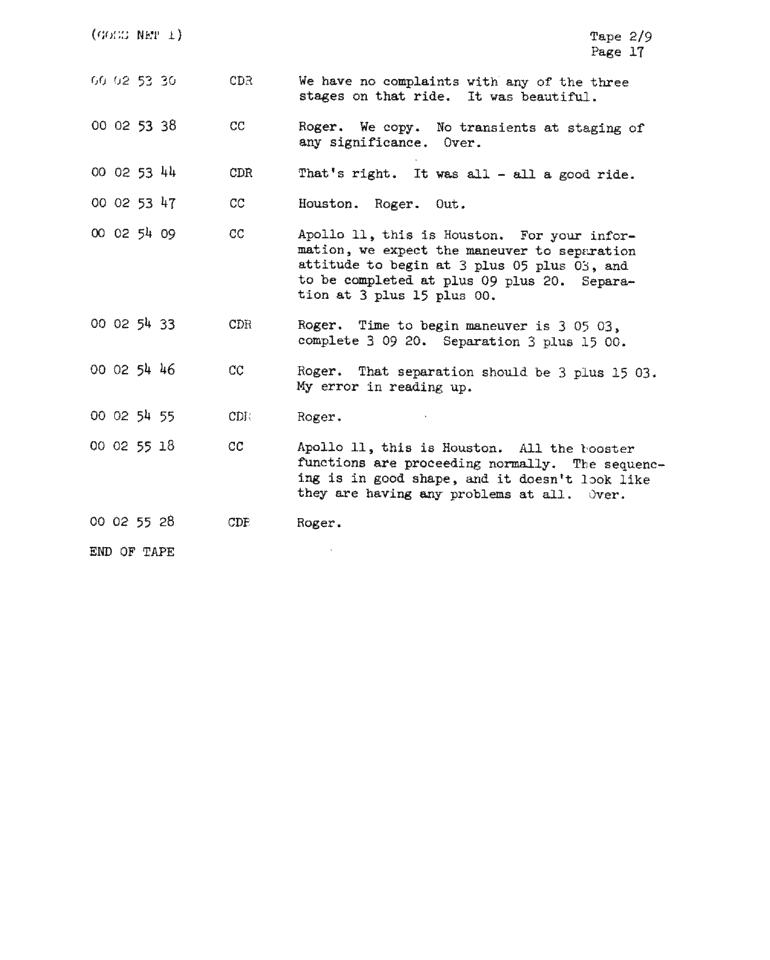Page 19 of Apollo 11's original transcript