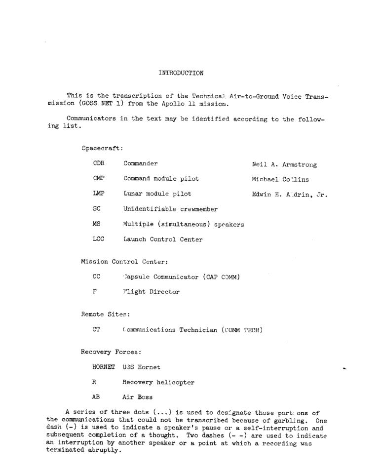 Page 2 of Apollo 11's original transcript