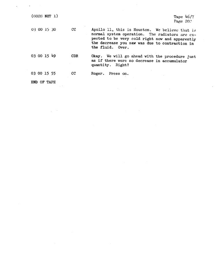 Page 204 of Apollo 11's original transcript