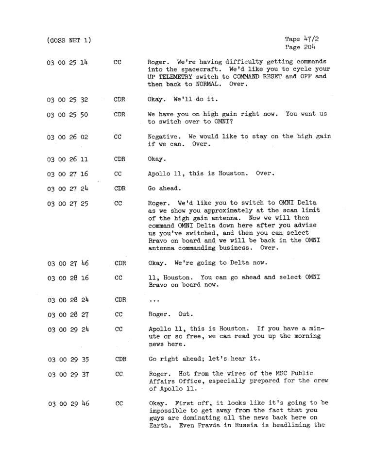Page 206 of Apollo 11's original transcript