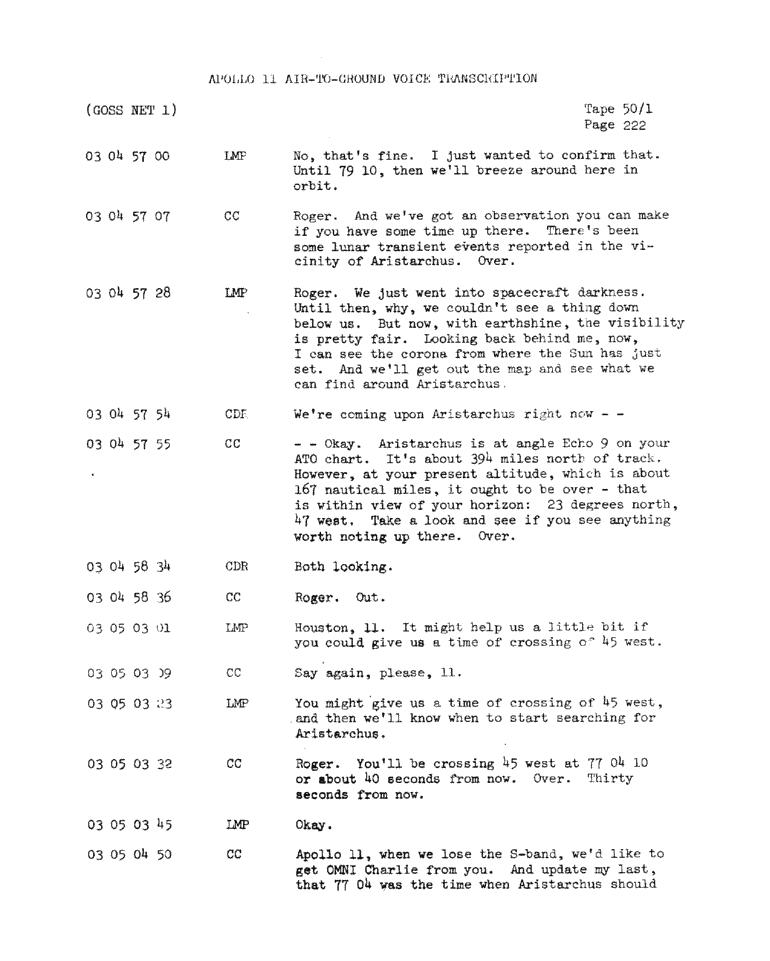 Page 224 of Apollo 11's original transcript