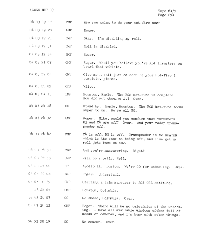 Page 296 of Apollo 11's original transcript