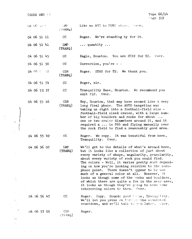 Page 321 of Apollo 11's original transcript