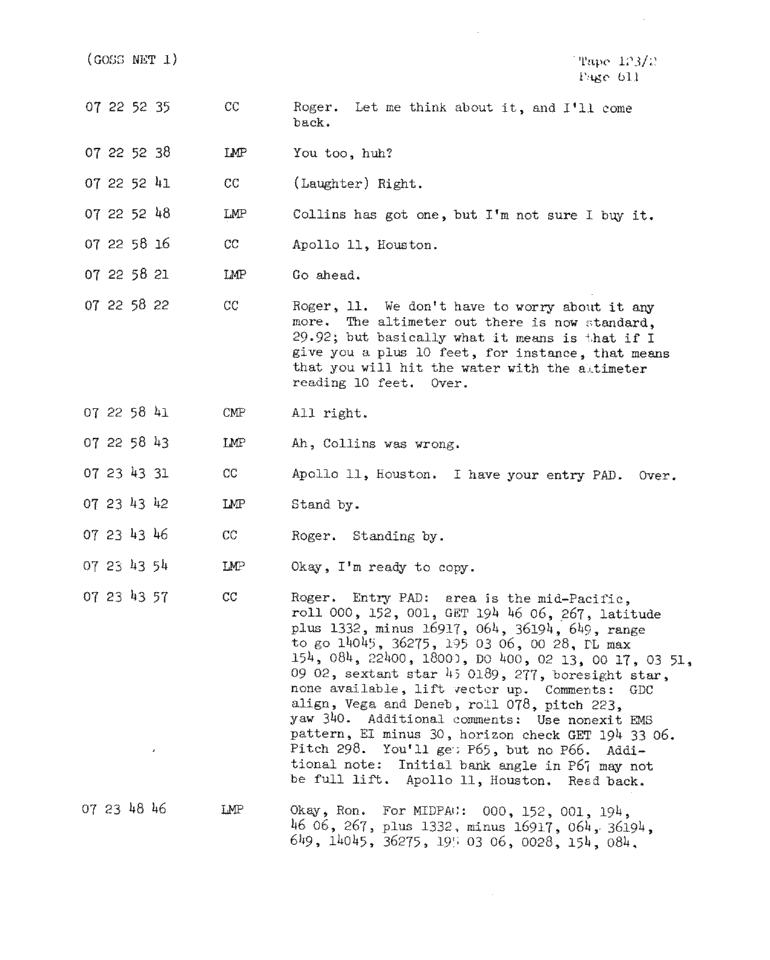 Page 613 of Apollo 11's original transcript