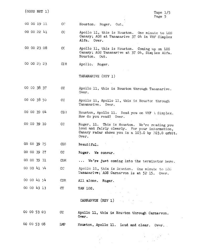 Page 7 of Apollo 11's original transcript