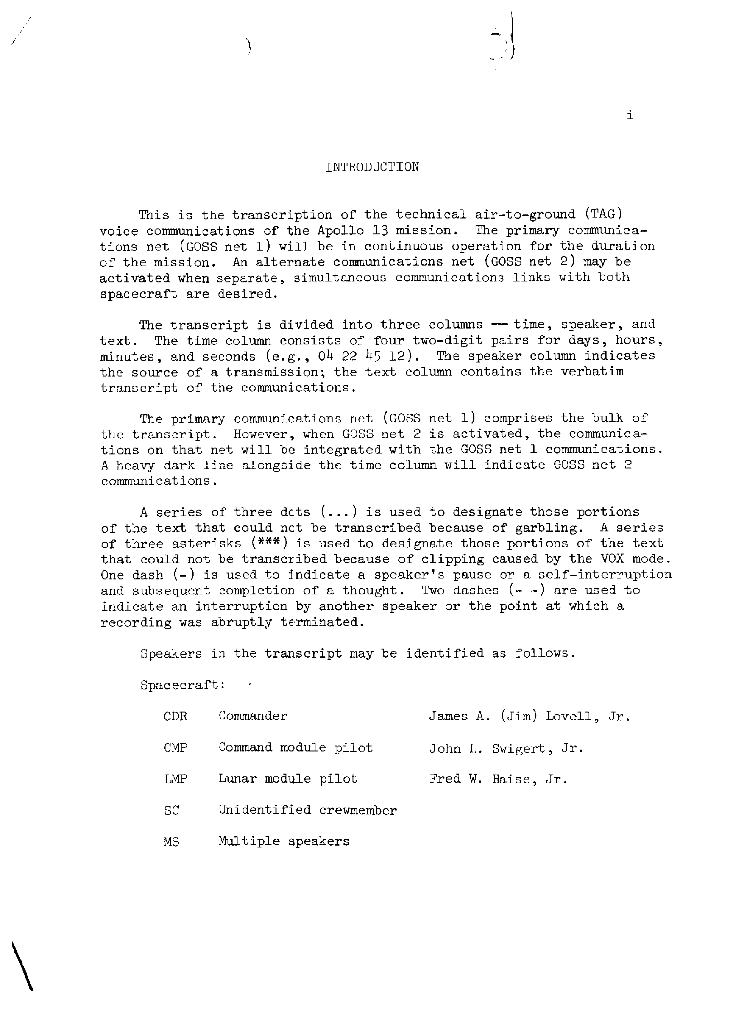 Page 2 of Apollo 13's original transcript