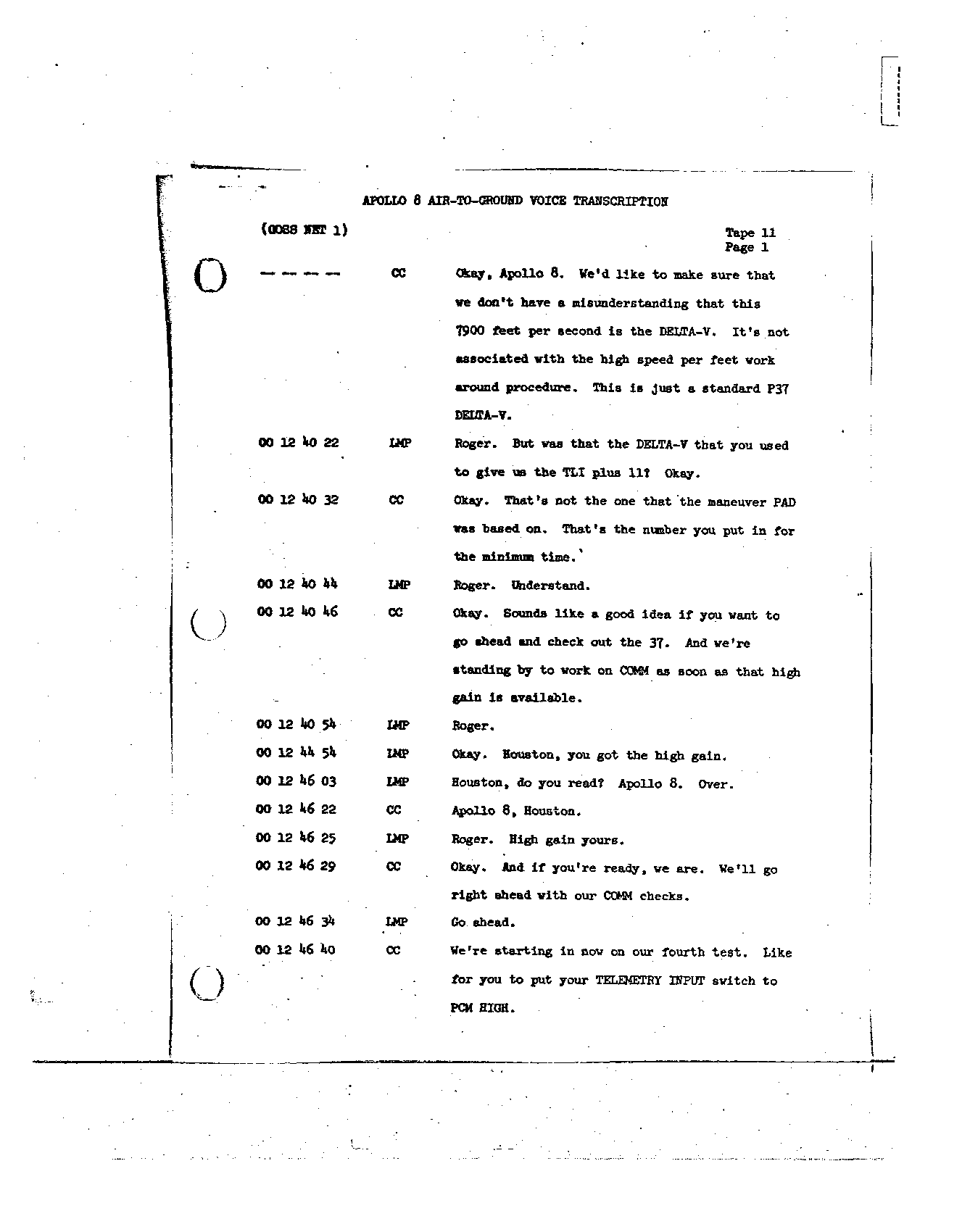 Page 103 of Apollo 8's original transcript