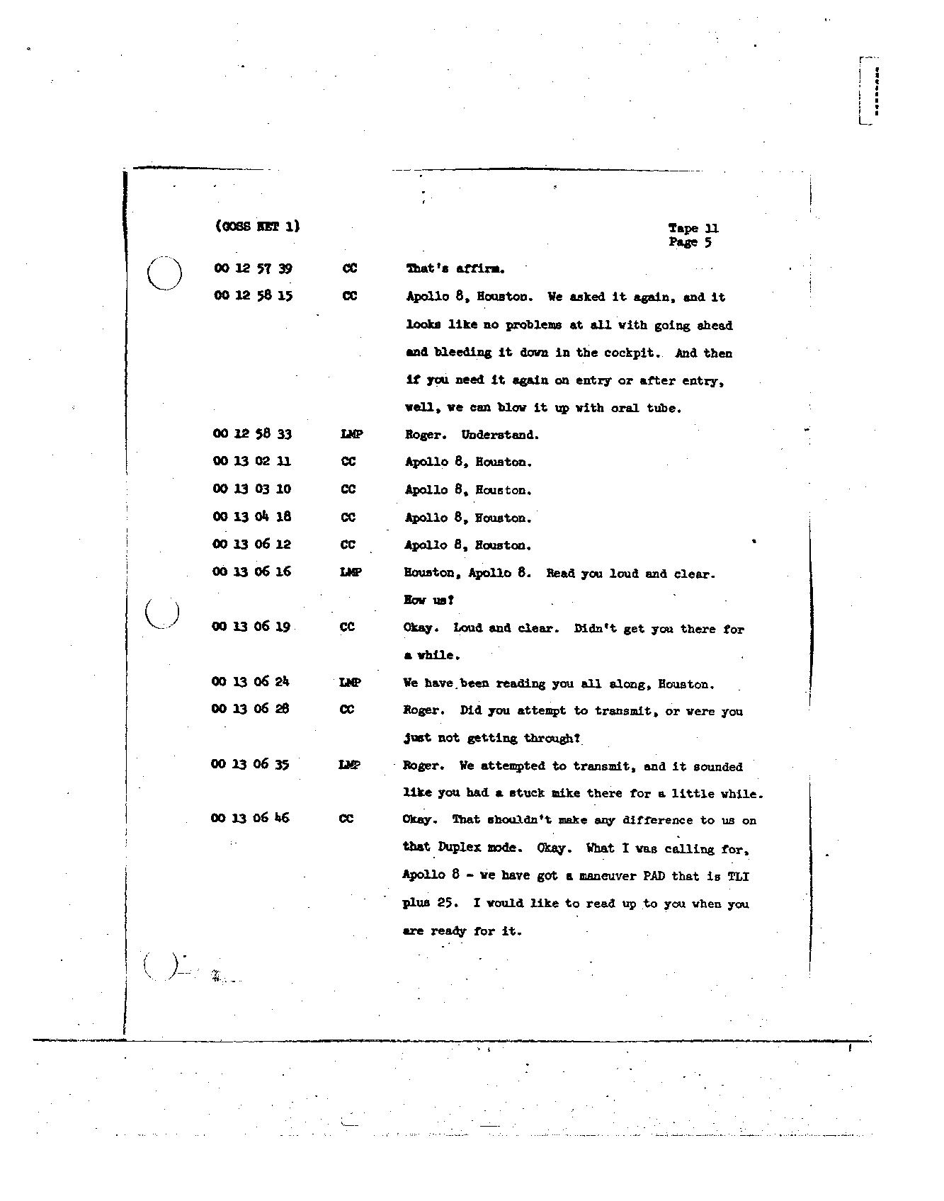 Page 107 of Apollo 8's original transcript