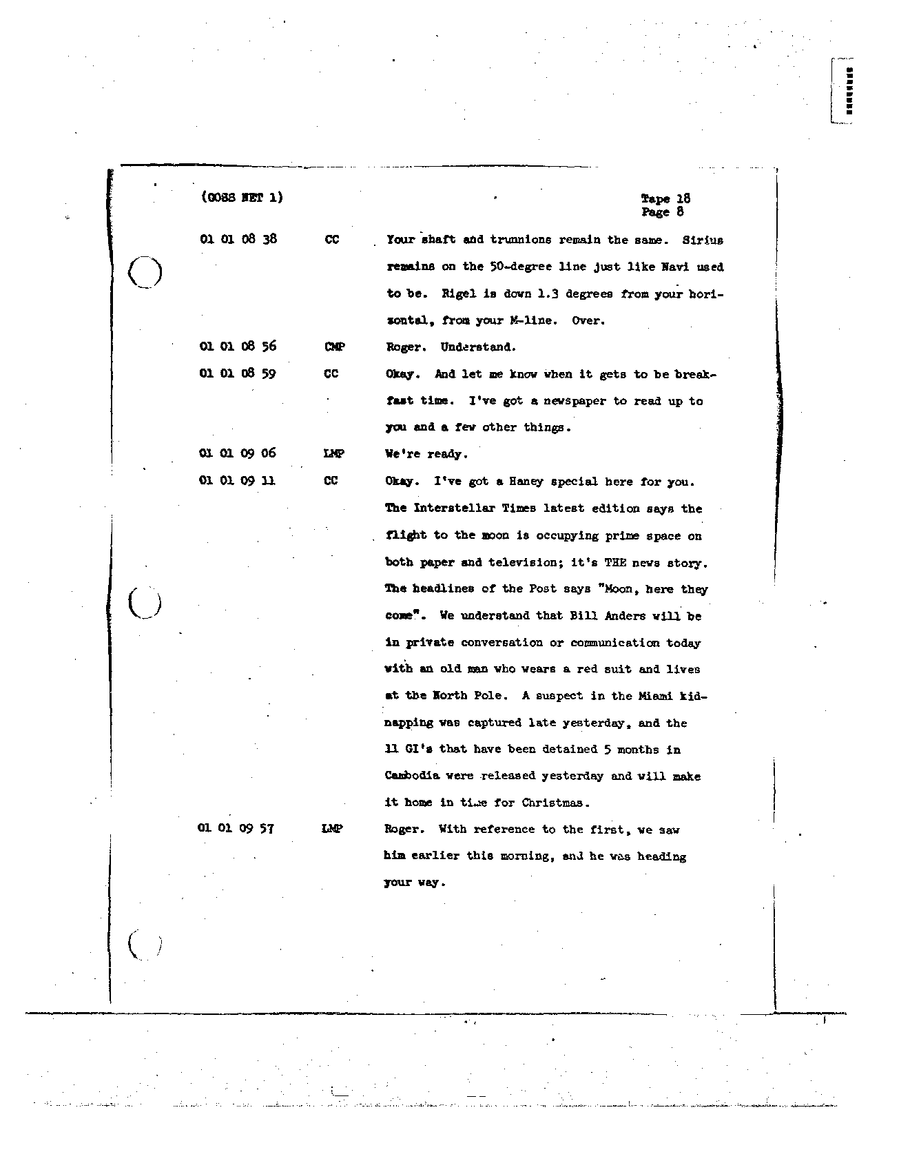 Page 143 of Apollo 8's original transcript