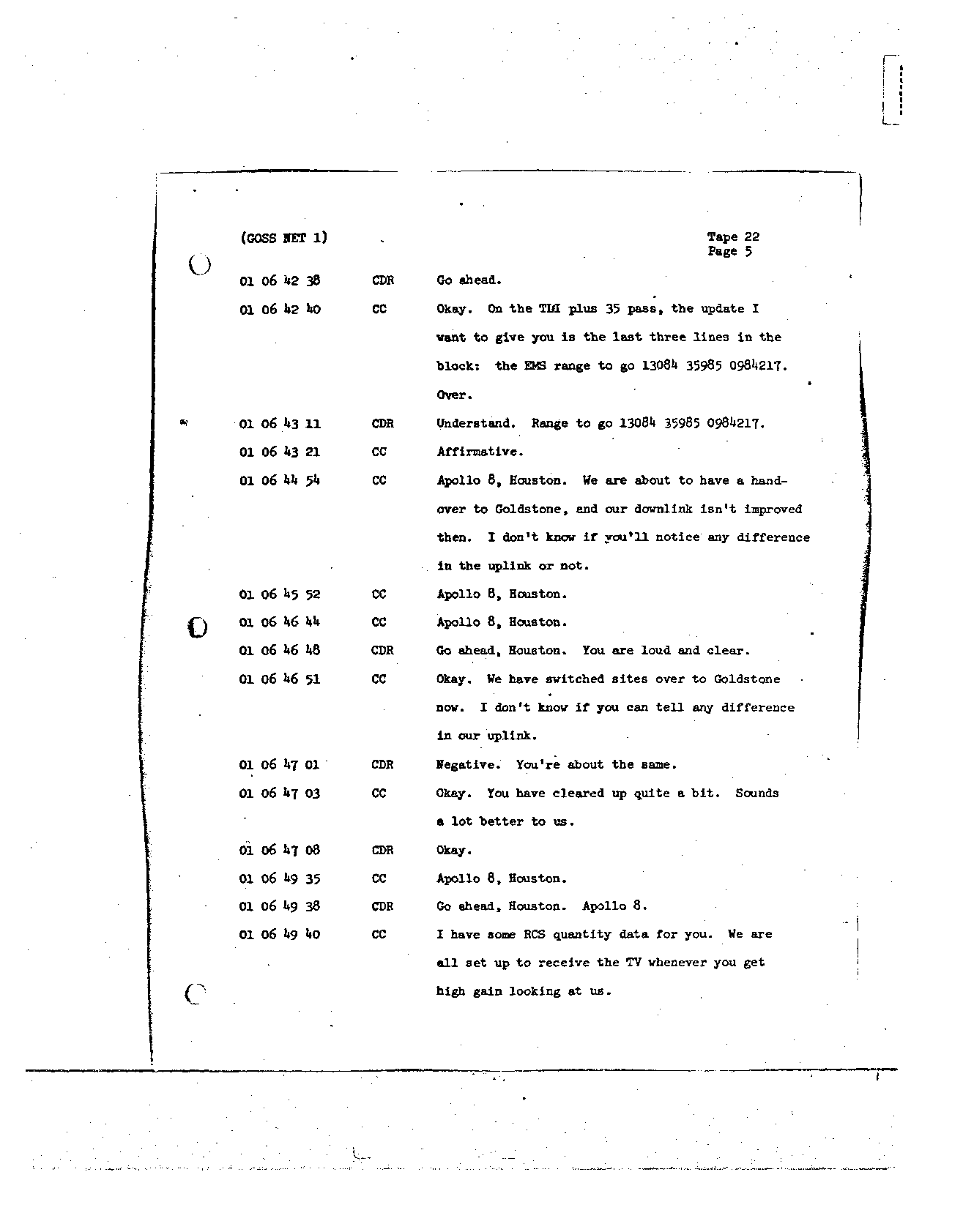 Page 168 of Apollo 8's original transcript