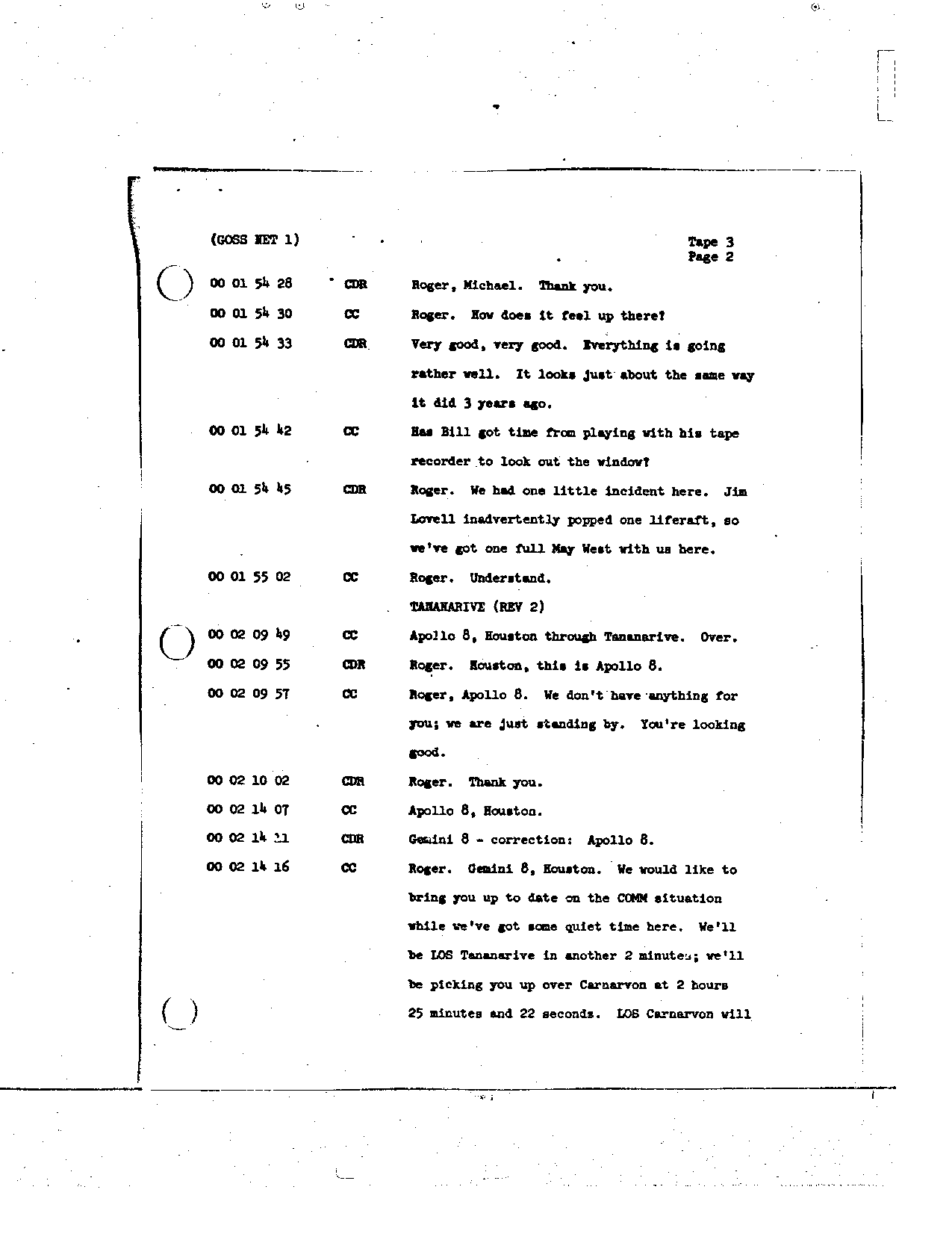 Page 19 of Apollo 8's original transcript