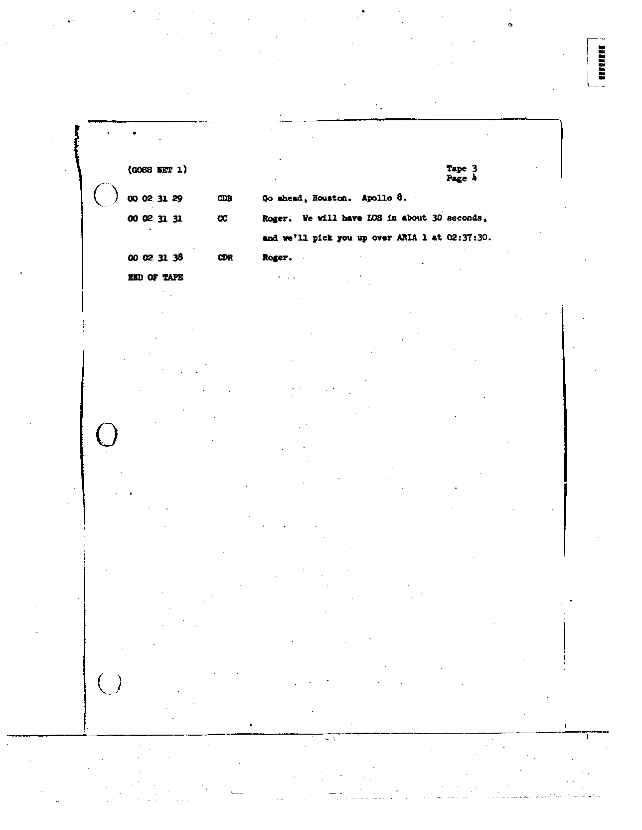 Page 21 of Apollo 8's original transcript