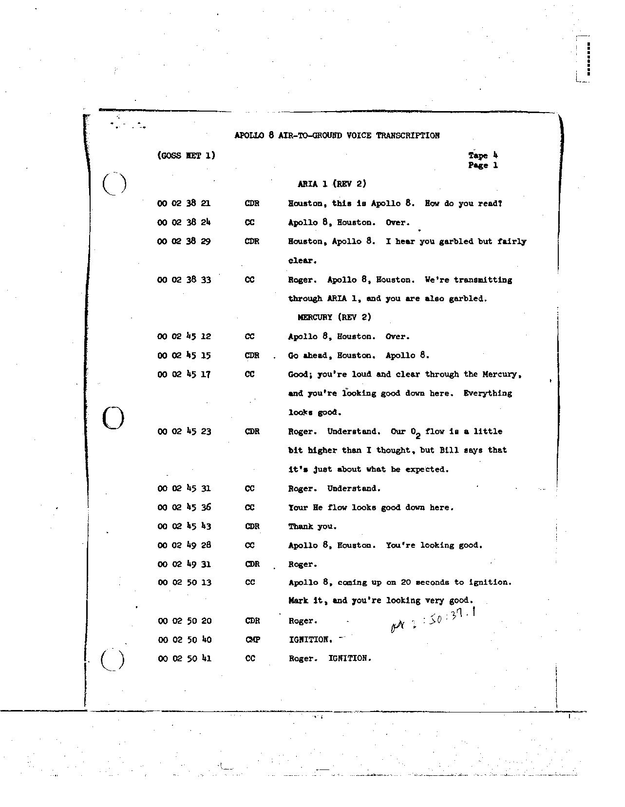 Page 22 of Apollo 8's original transcript