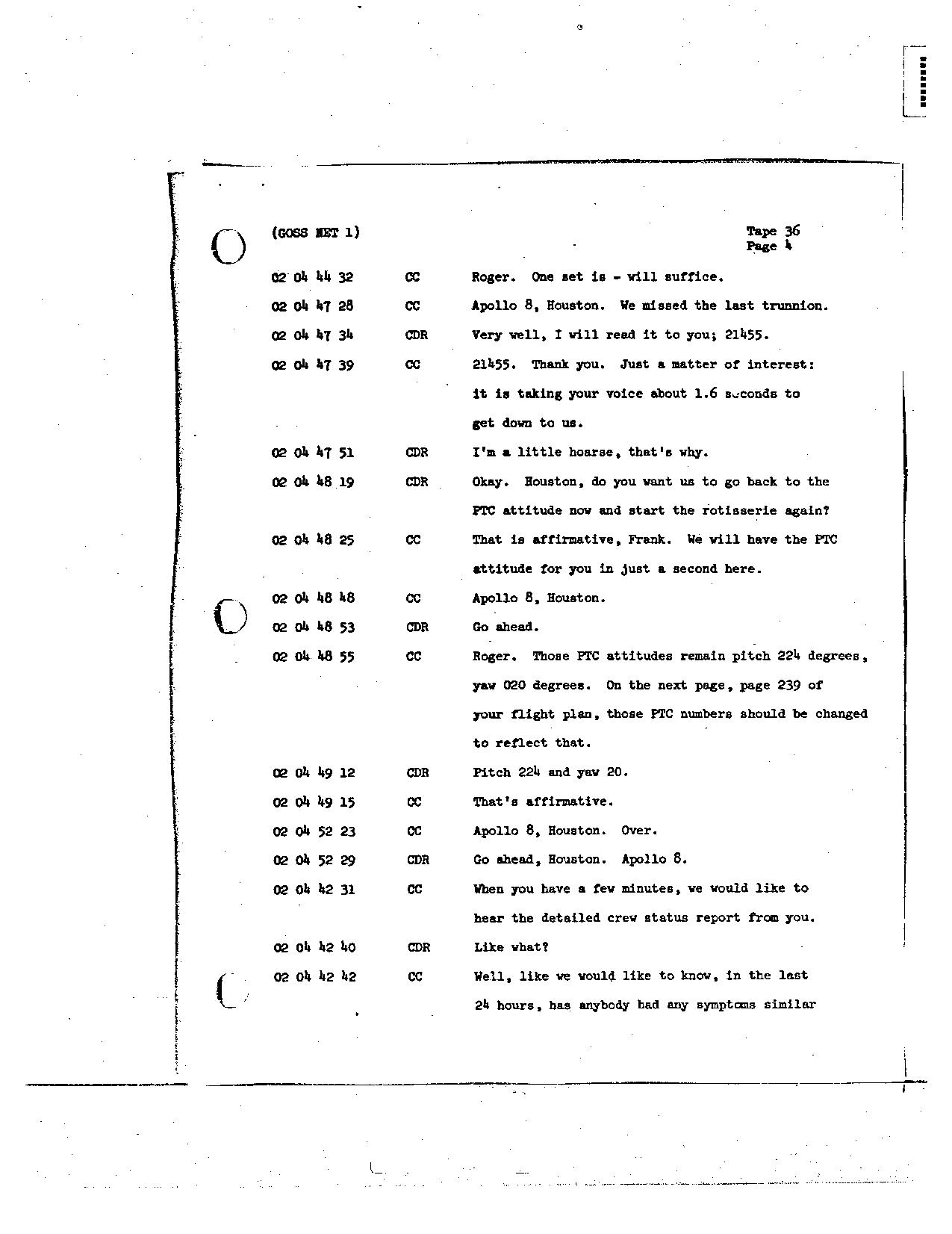 Page 274 of Apollo 8's original transcript