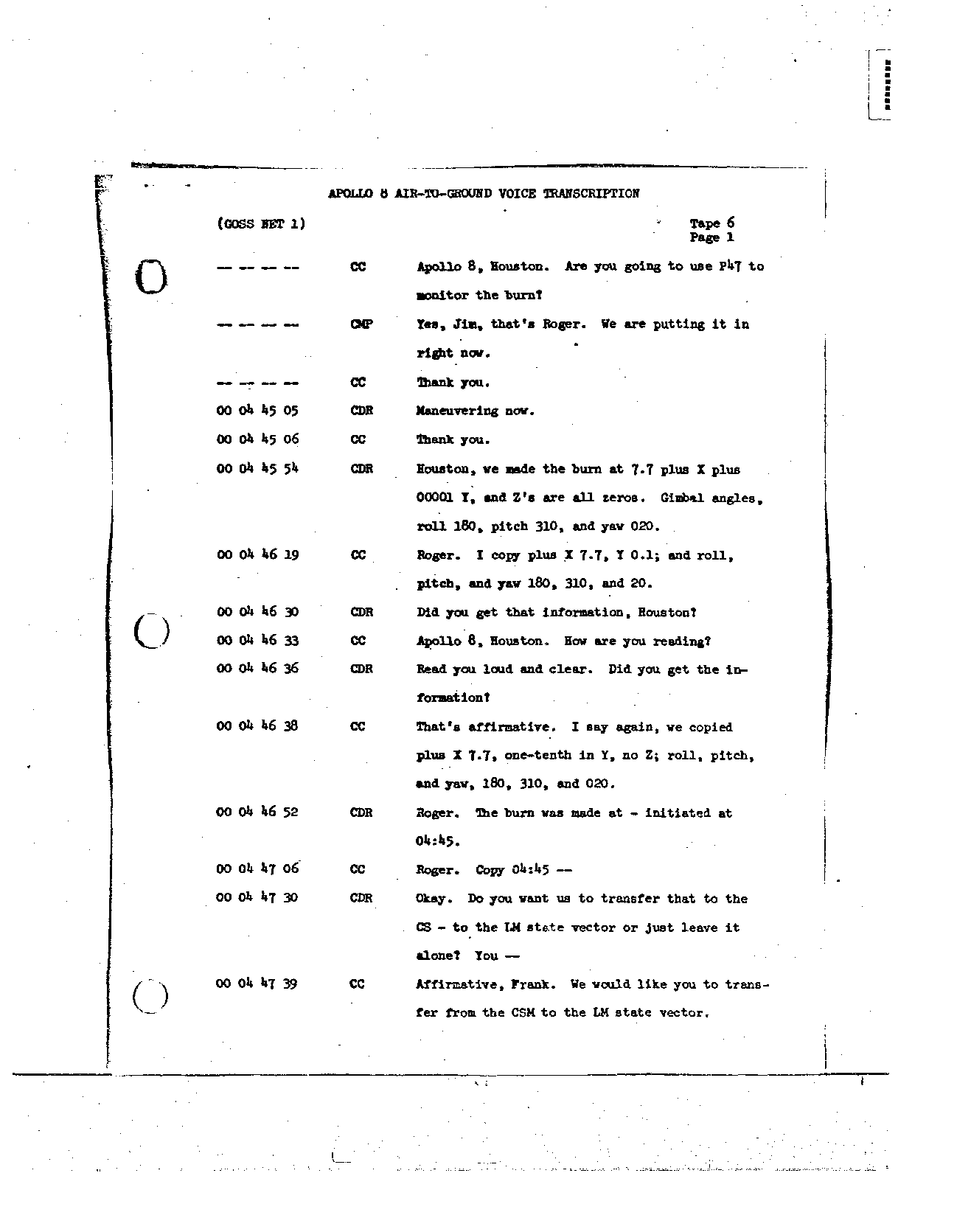 Page 47 of Apollo 8's original transcript
