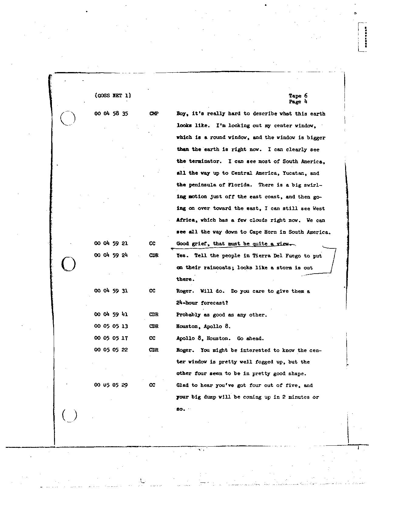 Page 50 of Apollo 8's original transcript