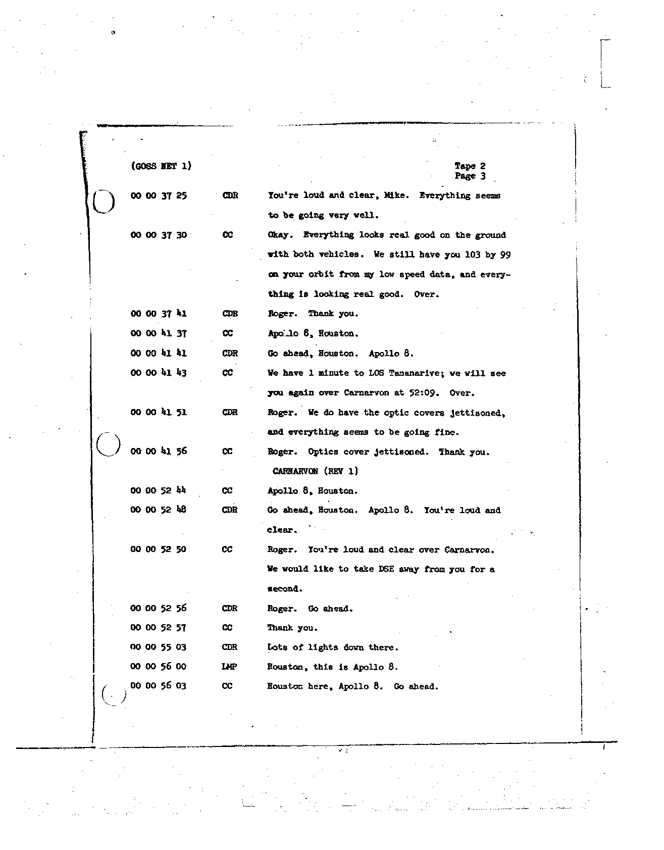 Page 9 of Apollo 8's original transcript