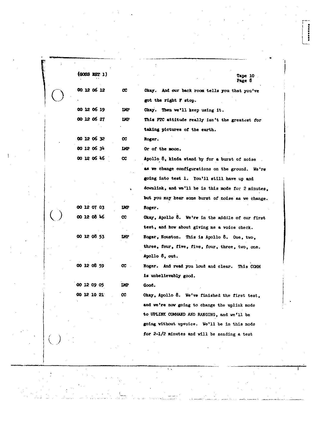 Page 99 of Apollo 8's original transcript
